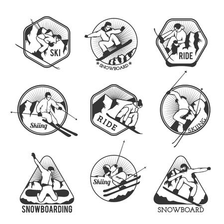 Ski resort logo emblemas, insignias de etiquetas elementos vectoriales. Esquí extremo, insignias snowboard Club Resort establecido. Juegos de invierno, esquí de aventura logo de snowboard de estilo al aire libre insignia de la vendimia. Estación de esquí iconos de logotipo Logos