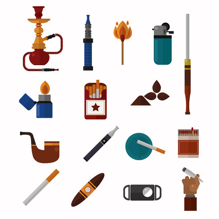 Smoking silhouette vector icons collection. Tabacco tools, sigarette, cigars, habit icons. Tabacco smoker tools icons vector. Cigars vector set, tabacco, nicotine. Health problems, smoke tools Illustration