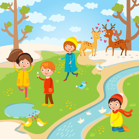 thaw: Spring or summer kids playing outdoor. Nature, holidays children. Kids play vector. Children playing. Spring, summer, love, childhood and friends. Kids playing vector. Boys, girls nature vector