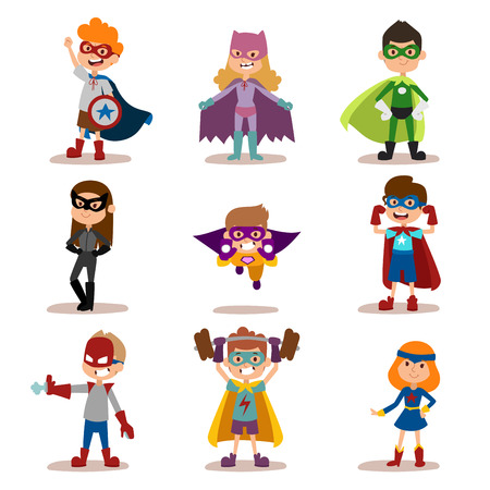 kids costume: Superhero kids boys and girls cartoon vector illustration. Super children illustration. Super hero kids playing, fly, Super kids in action. Superkids flying, success people concept Illustration