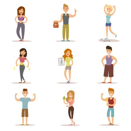 persone bellezza di fitness perdita di peso vettore fumetto illustrazione. La perdita di peso, concetto di ciclo di peso. Le persone magre dieta, palestra, misura. Perdere peso, bella figura, corpo forte. Perdere peso vettore persone Vettoriali