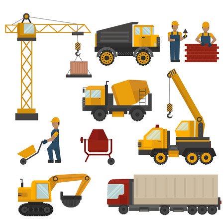 wheel house: Building under construction, workers and construction technic vector illustration. Building mixer truck, crane vector. Under construction concept. Workers in helmet, construction machine isolated Illustration