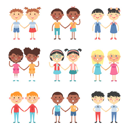 female portrait: Vector cute cartoon twins brothers and sisters. Twin kids isolated. Small twin kids, children twin couples. Kids posing. Twin children vector people isolated. Twin kids holding hands