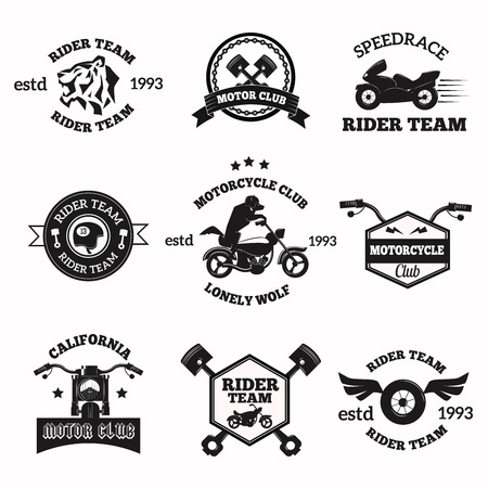 motorcycle racing: Bikers badges emblems vector icons. Bikers club logo icon. Motorcycle vector logo set collection. Vector biker club sign. Moto bike club bikers badge, logo, stamp. Vintage bikers vector logo icon