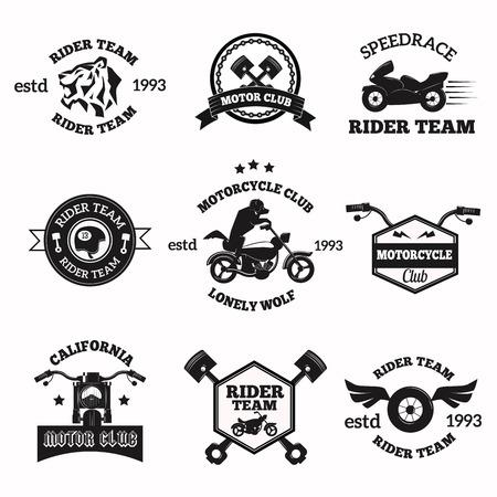 bicicleta vector: Bikers insignias emblemas iconos vectoriales. Bikers icono del logotipo del club. Vector logo motocicleta establece colección. Vector del club ciclista de señal. Moto ciclistas del club moto insignia, logotipo, sello. Ciclistas Vintage vector logo icono