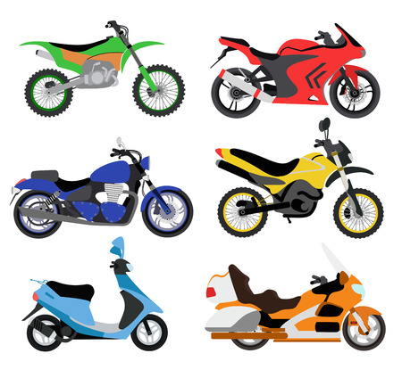 motor: Vector motorcycles illustration. Motorcycles isolated on white background. Cross bike, sport bike, city bike vector. Different motorcycle moto bikes illustration. Bike collection