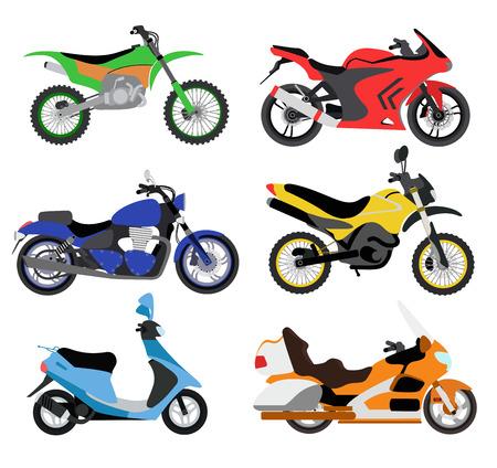 Vector motorfietsen illustratie. Motorfietsen op een witte achtergrond. Cross fiets, sport fiets, stadsfiets vector. Verschillende motorfiets moto fietsen illustratie. bike collectie