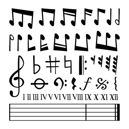 design objects: Music note black silhouette vector icons collection. Music notes black vector. Music notes silhouette. Music vector notes set. Music sign, music notes vector symbols Illustration