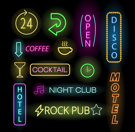 neon light: Light neon labels vector illustration. Neon labels font decorative symbols. Night neon light bright symbol. Neon symbols, neon light, neon bright. Lighting neon text objects Illustration