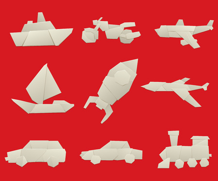 sailing: Vector illustration of simple origami paper vehicle and transport icons. Origami transport collection isolated on background. Origami transport design vector. Travel transport