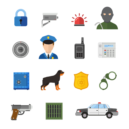man with gun: Vector security icons isolated on white background. Guard vector symbols. Guard, safety, security or police vector icons collection. Police, guard, security flat icons isolated