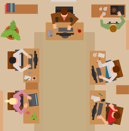 busy life: Busy business people sitting on table vector illustration. Office life, business people working in office space. Business people working in office top view illustration. Boss, managers, leader, office life vector.