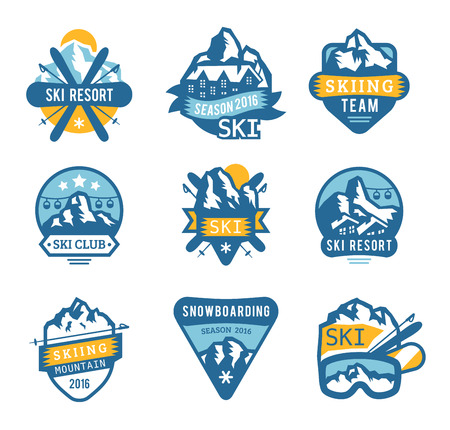 snowboard: Ski resort logo emblems, labels badges vector elements. Extreme ski, snowboarding resort club badges set. Winter games, outdoors adventure ski snowboard logo badge vintage style. Ski resort logo icons