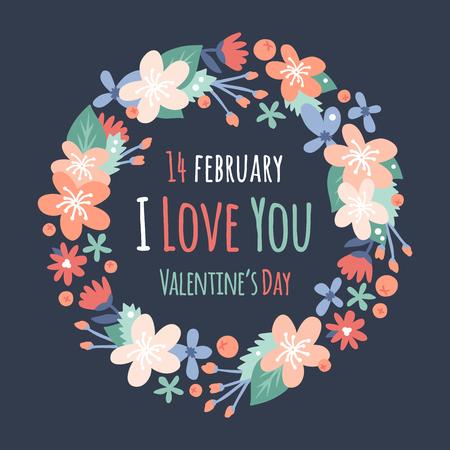 Vintage Valentijnsdag decoratie bloemen. Natuur bloemen krans bloemen, bladeren linten. Groet vakantie kaart vector template. Bloemen vector, krans vector silhouet. Huwelijk, liefde, de zomer, bloem