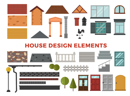 garden design: Family house vector design elemets. House building elements isolated on white background. Cottage home house building elements. House vector, house building. Cottage house construction elements