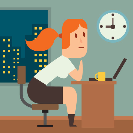 lag: Business work time lag delay vector illusutration. Procrastination concept. People delay, time late, business situations cartoon vector. Time delay, time lag, bad worker, stree on work
