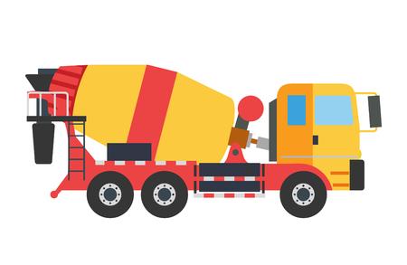 Immeuble en construction bétonnière machines machine technics illustration vectorielle. Construire bétonnière vecteur de camion machine. Sous le concept de vecteur de construction. Mixer vecteur isolated.Cement mélangeur