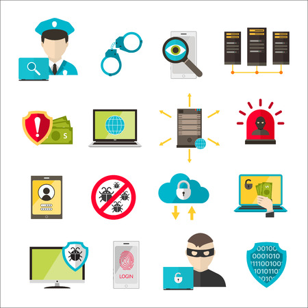 security technology: Internet safety icons. Virus attack vector icons. Internet data protection security. Technology cloud network icons. IT security concept icons infographic design elements. Cyber crimes attack icons Illustration