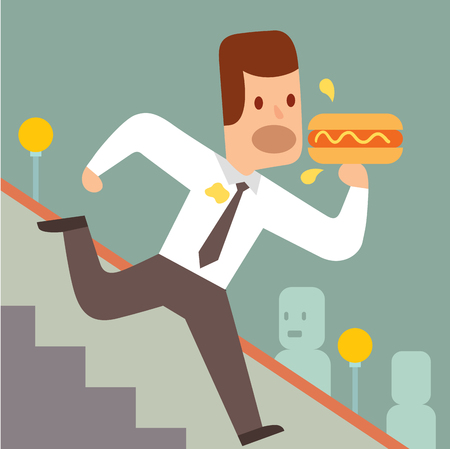 tardiness: Business work time lag delay vector illusutration. Procrastination concept. People delay, time late, business situations cartoon vector. Time delay, time lag, bad worker, stree on work
