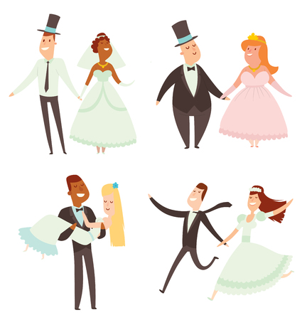 Wedding couples cartoon style vector illustration. Wedding couples cute cartoon flat style isolated on background. Vector wedding new family people couple illustration. Happy new family concept. Wedding couple vector