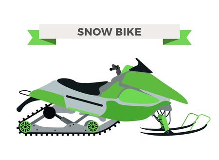 Vector hiver neige moto illustration. Motoneige isolé sur fond blanc. Hiver vélo, neige vecteur ski de vélo. Moto hiver vélo illustration. vélo de neige