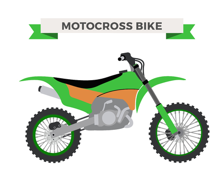 dirt bike: Vector motorcycle illustration. Motorcycle isolated on white background. Cross bike, sport bike vector. Motorcycle moto bike illustration. Bike isolated vector Illustration