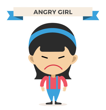 anger kid: Little cartoon angry girl vector illustration. Cartoon angry girl isolated on background.