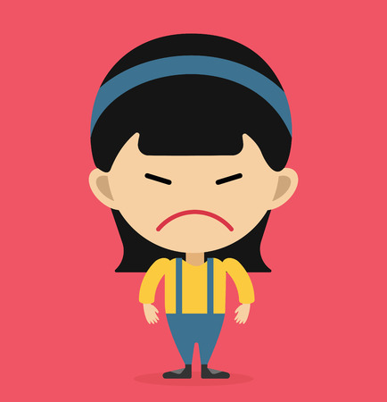 complain: Little cartoon angry girl vector illustration. Cartoon angry girl isolated on background.