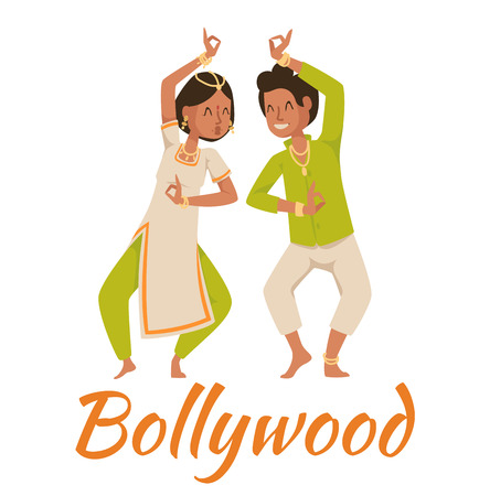 Indian Bollywood couple dancing vector. Indian dancers vector silhouette. Indian cartoon dancer. Indian people dancing on white background. India, dance, show, party, movie, bollywood