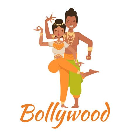 Indian Bollywood Paar tanzen vektor. Indische Tänzer Vektor-Silhouette. Indian cartoon dancer. Indian Menschen tanzen auf weißem Hintergrund. Indien, Tanz, Show, party, Film, bollywood Standard-Bild - 50399606