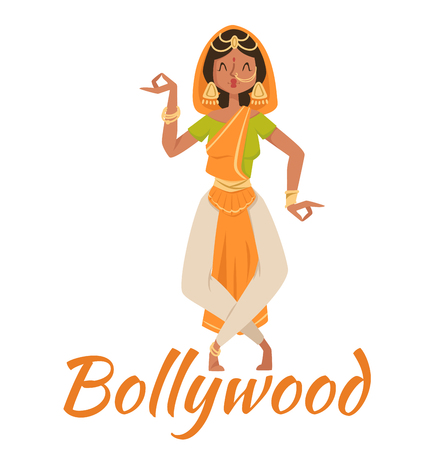 bollywood: Indian Bollywood couple dancing vector. Indian dancers vector silhouette. Indian cartoon dancer. Indian people dancing on white background. India, dance, show, party, movie, bollywood