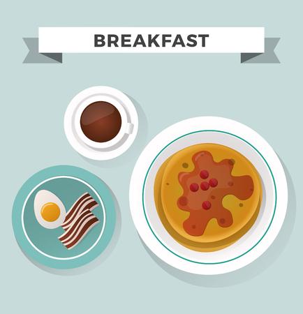 フラット トップ ビューのセットを朝食します。朝食アイコン シルエット イラスト。さまざまな国から朝食します。朝食ベクトル食品イラスト。食  イラスト・ベクター素材
