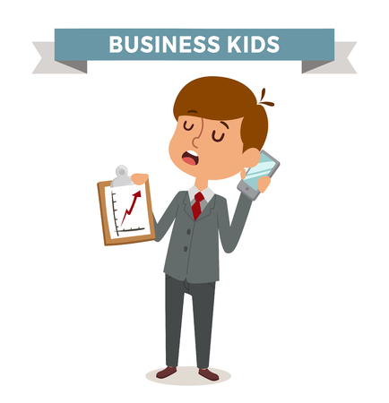 boy at phone: Little schoolboy like businessman with business case, phone, glasses. Kids boy businessman isolated on white background. Business man son fathers clothing. Business kids, business boy vector Illustration