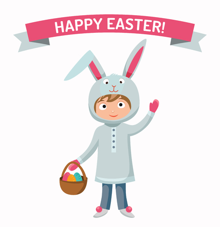 brown hare: Greeting card Easter rabbit boy kid with basket vector illustration. Funny bunny easter rabbit. kid Easter Bunny greeting card. Easter illustration. Easter bunny cartoon flat style. Easter eggs flat vector. Easter bunny Illustration