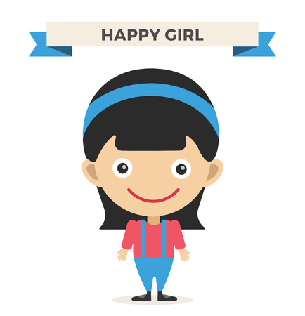 girl  child: Cute little girl cute vector illustration. Girl on white background. Girl smiling face. Vector girl illustration. Young girl concept. Childhood, kids, young people. Teenagers children kids cartoon style