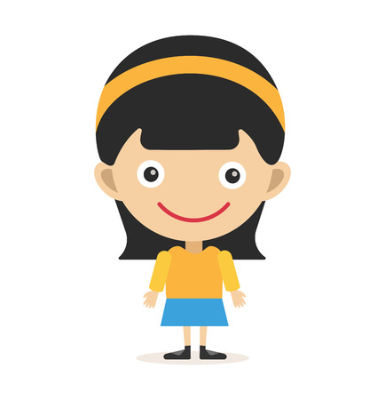 cute girl: Cute little girl cute vector illustration. Girl on white background. Girl smiling face. Vector girl illustration. Young girl concept. Childhood, kids, young people. Teenagers children kids cartoon style
