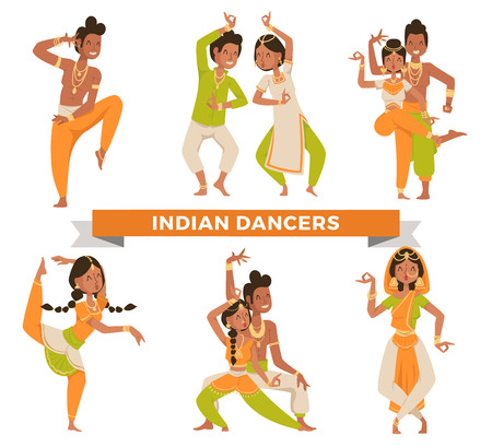 young adult: Indian Bollywood couple dancing vector. Indian dancers vector silhouette. Indian cartoon dancer. Indian people dancing on white background. India, dance, show, party, movie, bollywood