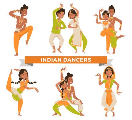taniec: Indian Bollywood wektora para tańczy. Tancerze indyjskich wektor sylwetki. Indyjski tancerz kreskówki. Indianie tańczą na białym tle. Indie, taniec, pokaz, impreza, film, bollywood Ilustracja