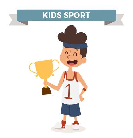 boy basketball: Cute cartoon vector profession basketball kid with award. Sportsman funny cartoon boy kid. Profession sportsman basketball kids children vector. Profession kids