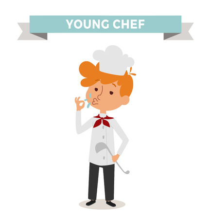 cook hats: Chef boy with cook hat isolated on white. Cute cartoon vector profession chef kid with cook spoon. Chef boy funny cartoon kid. Profession cook chef boy children vector. Profession chef boy Illustration