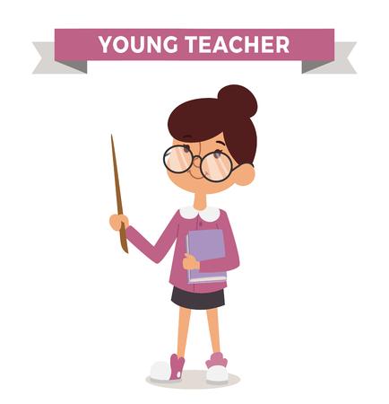 Teacher girl with book isolated on white. Cute cartoon vector profession teacher kid with book. Teacher girl funny cartoon kid. Profession teacher children vector. Profession teacher girl