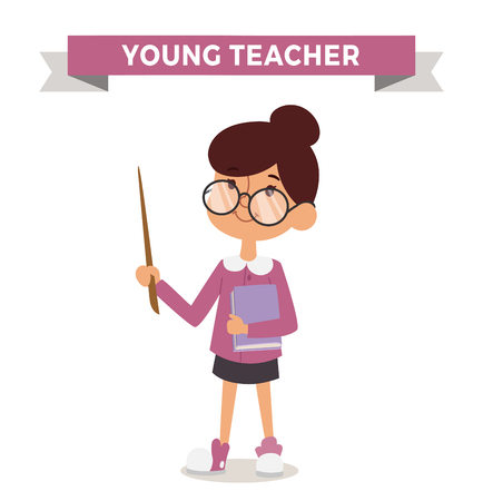 professors: Teacher girl with book isolated on white. Cute cartoon vector profession teacher kid with book. Teacher girl funny cartoon kid. Profession teacher children vector. Profession teacher girl