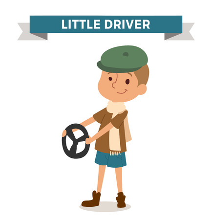 doctor isolated: Driver boy with car rude isolated on white. Cute cartoon vector profession driver kid with ruder. Driver funny cartoon kid. Profession driver children vector. Profession driver boy