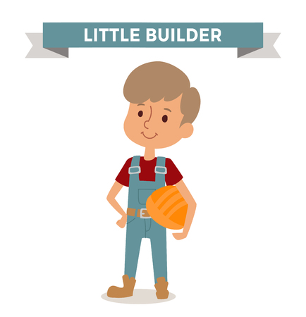 builder: Builder boy with helmet isolated on white. Cute cartoon vector profession builder kid with helmet. Builder funny cartoon kid. Profession builder children vector. Profession Builder boy