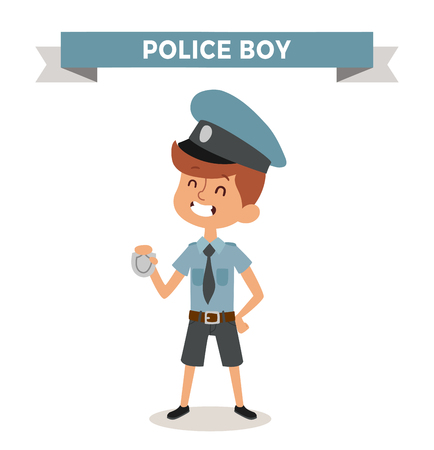security officer: Police boy with sign isolated on white. Cute cartoon vector profession police boy. Police funny cartoon kid. Profession police cap children vector. Profession police boy