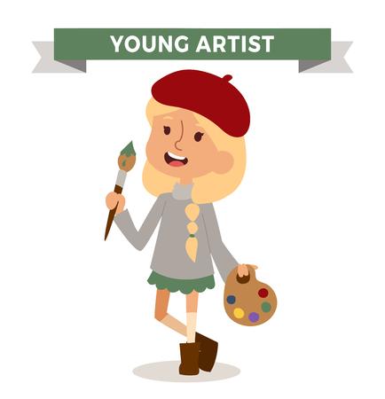 Artista ragazza con il pennello arte isolato su bianco. Simpatico cartone animato vettore artista professione ragazzo con pennello. Artista ragazza divertente cartone animato per bambini. Professione artista bambini vettore. Professione ragazza dell'artista Vettoriali