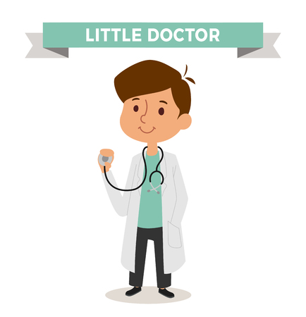 medico caricatura: Doctor boy isolated on white background. Cute cartoon vector profession doctor kid. Doctor funny cartoon kid. Profession doctor  children vector. Profession doctor boy Vectores