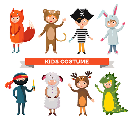 Kids different costumes isolated vector illustration. Dragon, crocodile, sheep and deer. Snowman, bear, ninja, rabbit and fox, pirate.Kids costume vector isolated. Children party costume. Kids costume Illustration