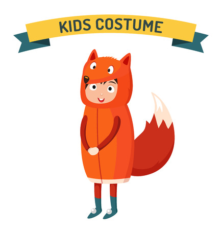 costume party: Fox kid costume isolated vector illustration. Kids party costume vector isolated. Children party costume. Kids costume Illustration