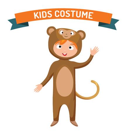 brujas caricatura: chico traje del mono ilustraci�n vectorial aislado. aislado vector de los cabritos del traje del partido. Los ni�os traje del partido. traje de los ni�os